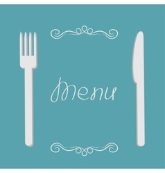 Silver fork and knife Menu cover in flat design vector image