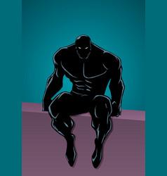 Superheroine portrait in city silhouette vector