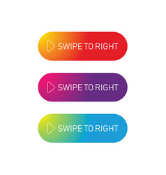 Swipe to right web button vector