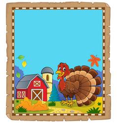 turkey bird theme parchment 2 vector image