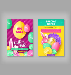 Two easter sale invitations vector