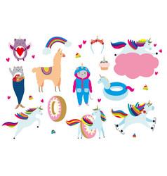 unicorn cartoon set kittycorn vector image