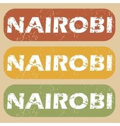 Vintage Nairobi stamp set vector image