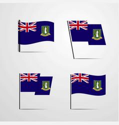 Virgin islands uk waving flag set design vector