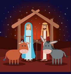 Virgin mary and saint joseph with animals vector