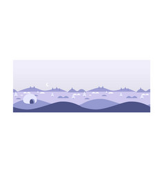 Wild northern landscape igloo eskimo people house vector
