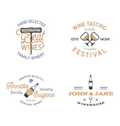 wine shop badges templates in typography style vector image