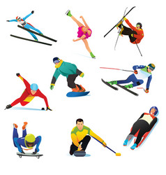 Winter sports cliparts icons vector