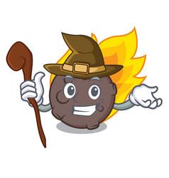 Witch meteorite mascot cartoon style vector