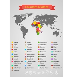 World map infographic template countries of africa vector