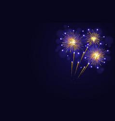 Amazing golden yellow fireworks vector