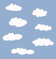 cute clouds icons set vector image