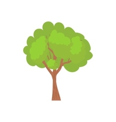 Green tree with a rounded crown icon vector image vector image
