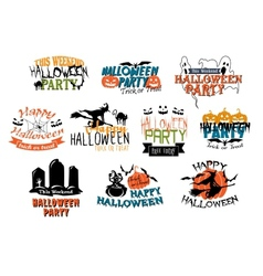 Halloween party and Happy Halloween designs vector image