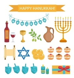 Hanukkah set of cartoon icons Hanukkah Icons with vector image