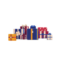 holiday christmas gift boxes wrapped in bright vector image vector image