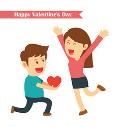 male kneeling giving red heart for his girlfriend vector image vector image