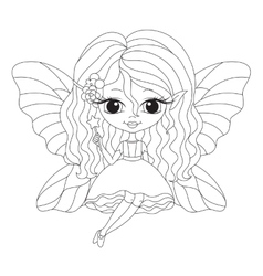 Outlined of an adorable fairy vector