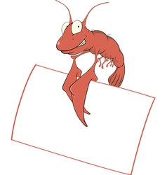 Red shrimp with the empty blank cartoon vector image vector image