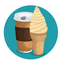 coffe ice cream icon over blue background vector image