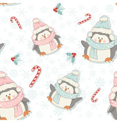Cute Christmas penguins seamless pattern vector image