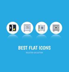 flat icon strongbox set of locked strongbox vector image