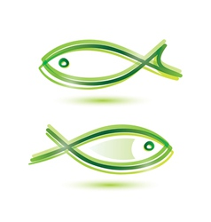 logo-like fish symbol isolated icons set vector image vector image