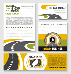 road poster banner and flyer template set vector image