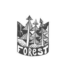 vintage hand drawn outdoor adventure badge vector image vector image