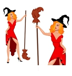 Young witch in a hat with broom halloween vector