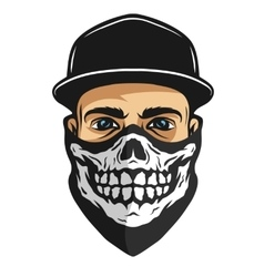 A guy in a bandana with a skull pattern vector image