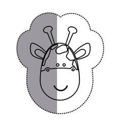 contour face giraffe icon vector image
