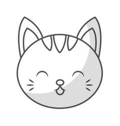 cute shadow cat face cartoon vector image
