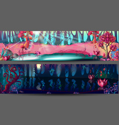 Enchanted forest horizontal banners vector