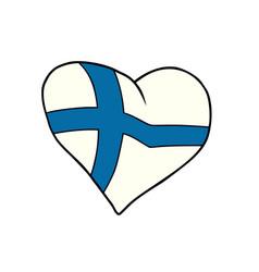 finland heart patriotic symbol vector image vector image