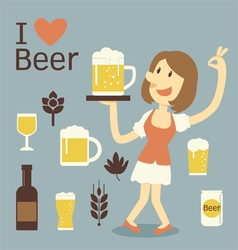 girl serving beer vector image