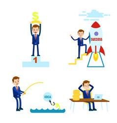 prosperous cartoon businessman set vector image