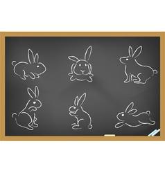 rabbits sketch drew on blackboard vector image