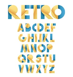 Retro font in blue and yellow Beige alphabet vector image vector image