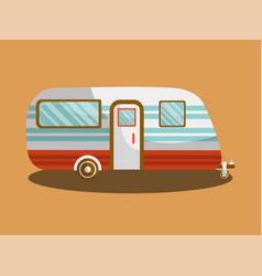 camper trail of camper bus of van vector image