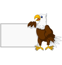 eagle cartoon with blank sign vector image vector image