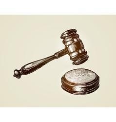 Gavel hammer of judge or auctioneer Sketch vector image vector image