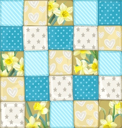 Seamless pattern from blue scrappy blanket vector