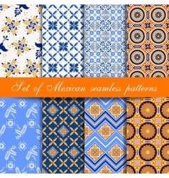 Set of mexican seamless patterns vector image vector image