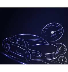 stylized glowing car vector image vector image