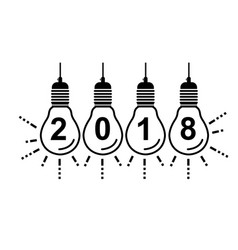 2018 happy new year bulbs vector image