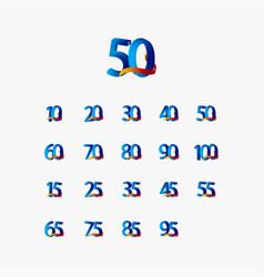 50 years anniversary celebration number blue vector