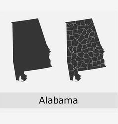 Alabama map counties outline vector