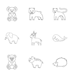 Animals set icons in outline style Big collection vector