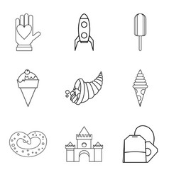 Autumn baking icons set outline style vector